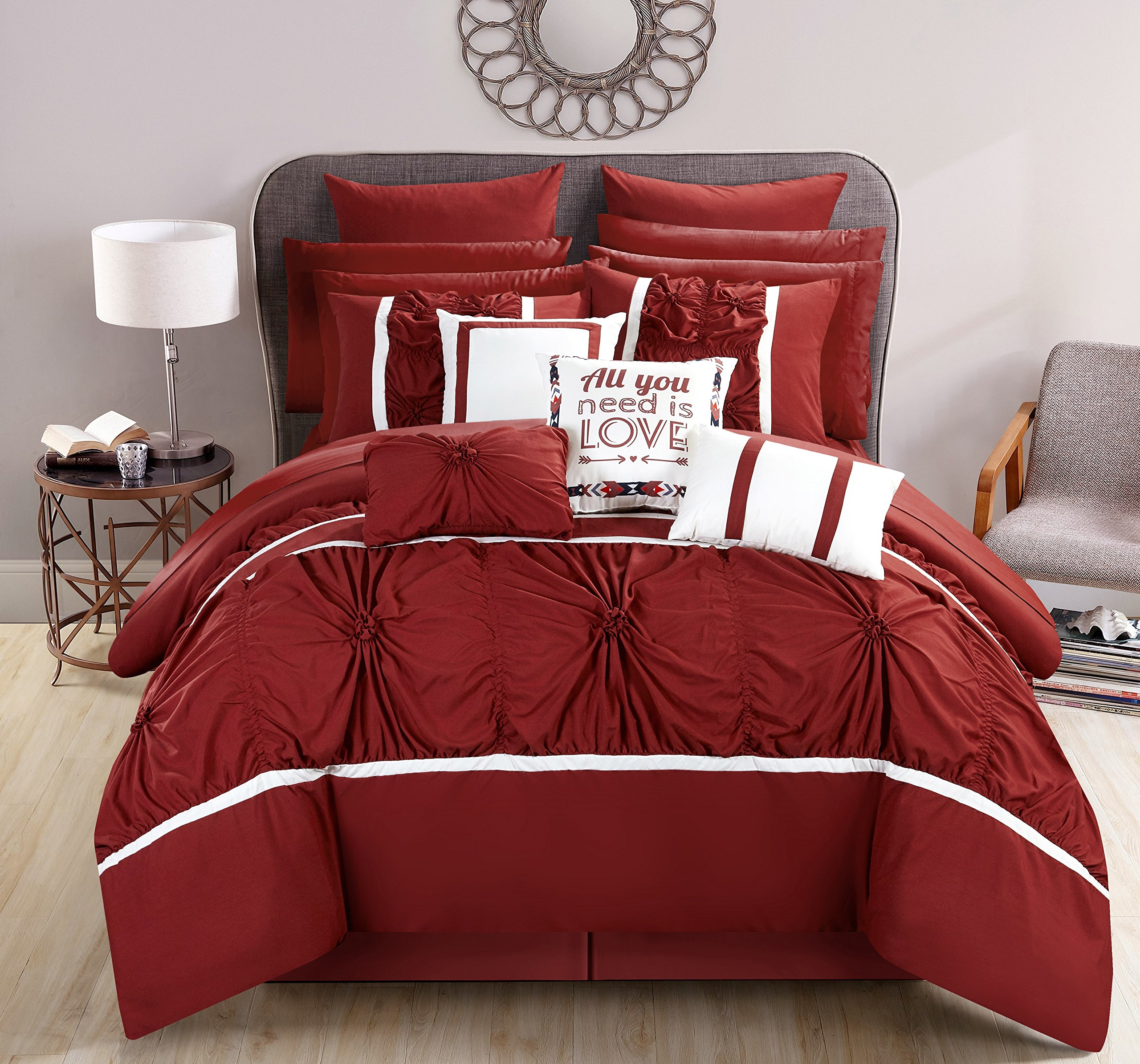 Chic Home CS2768-AN Ashville 16 Piece Bed in A Bag Comforter Set, Red, Queen by Chic Home