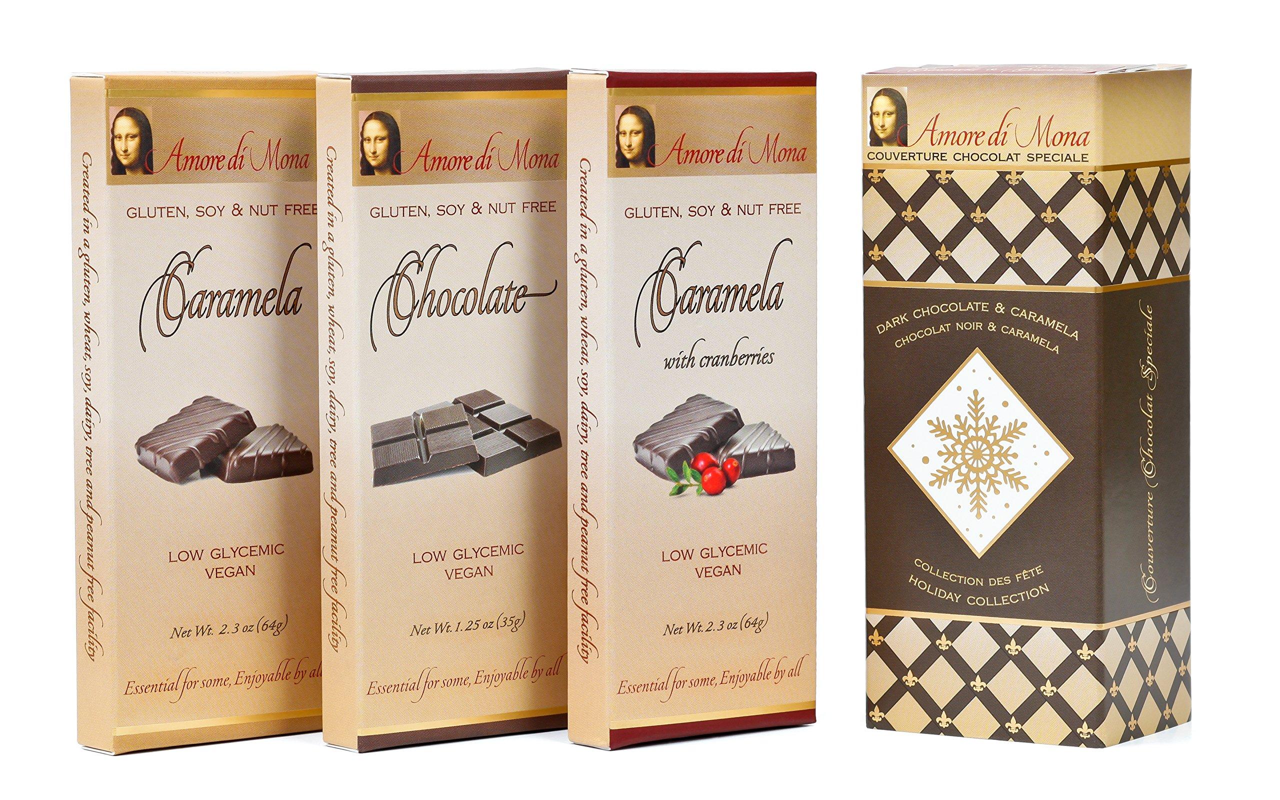 Amore di Mona Artisanal Vegan Chocolate Gift - Holiday 3 Pack: Chocolate, Caramela, Cranberry Caramela. Premium Ingredients are All Natural, Non-GMO, Kosher. Gluten, Soy, Sesame, Milk, Nut Free