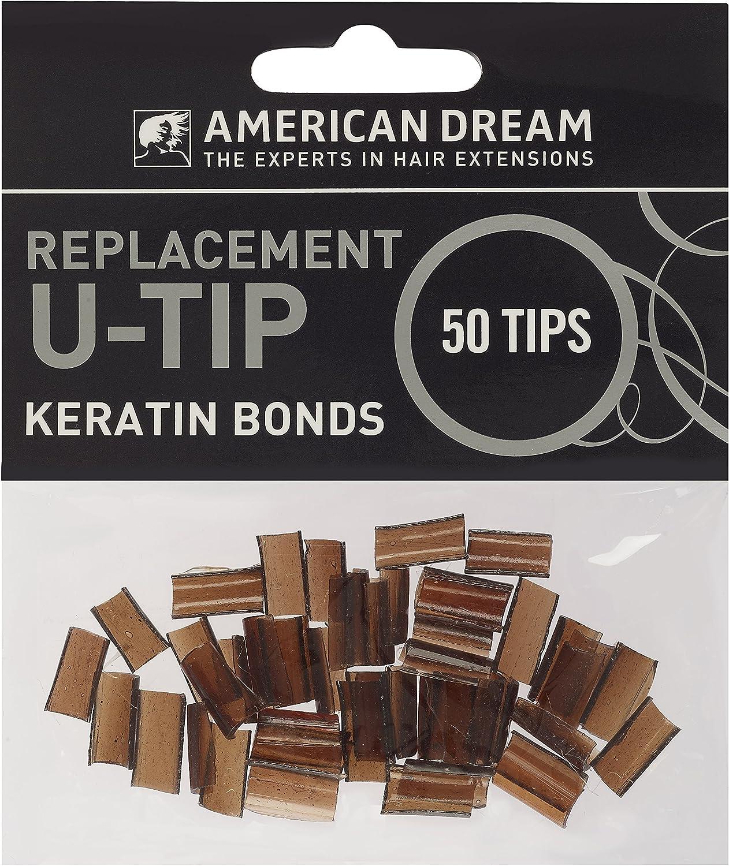 American Dream extensiones de queratina puntas de repuesto para pre-bonded, luz marrón–Pack de 50