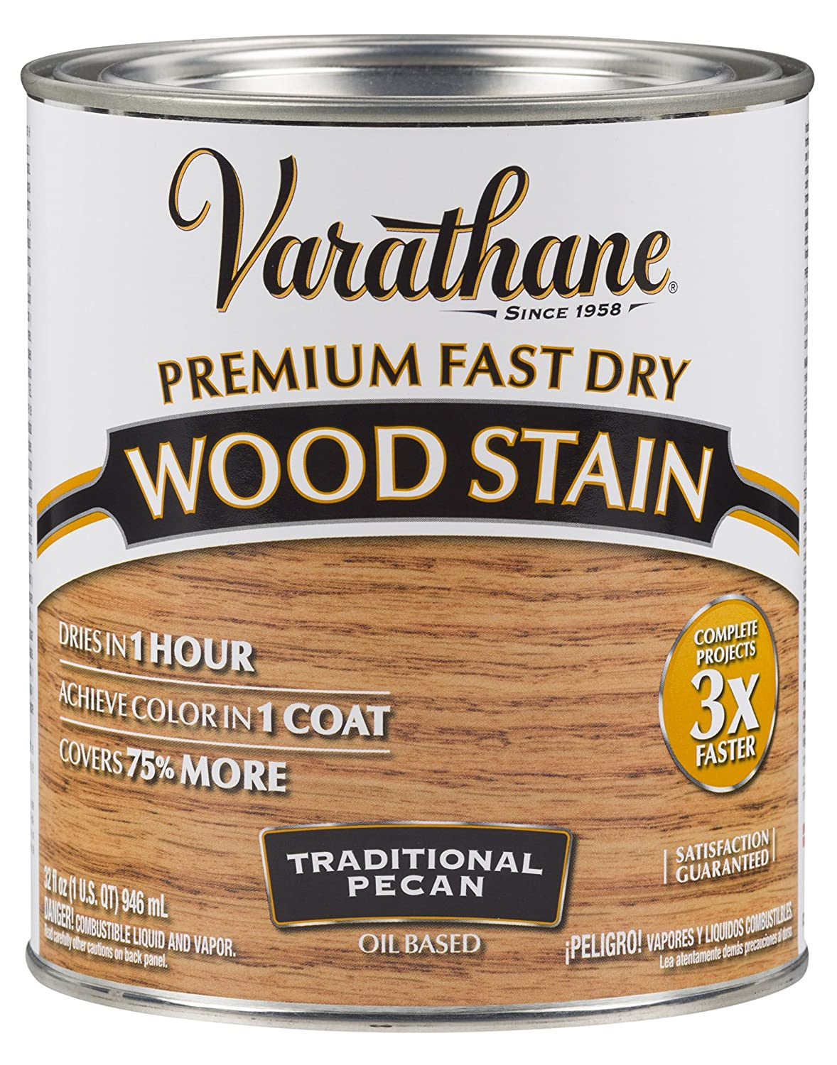 Varathane 262013 Premium Fast Dry Wood Stain, 32 oz, Traditional Pecan
