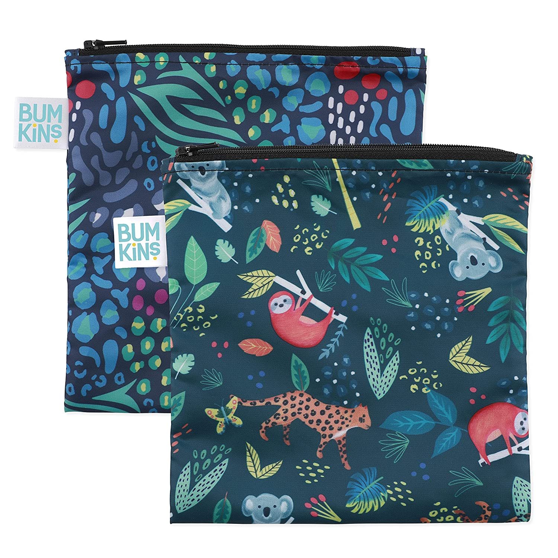 Bumkins Sandwich Bag/Snack Bag, Reusable, Washable, Food Safe, BPA Free, 7x7, 2 Pack - Jungle