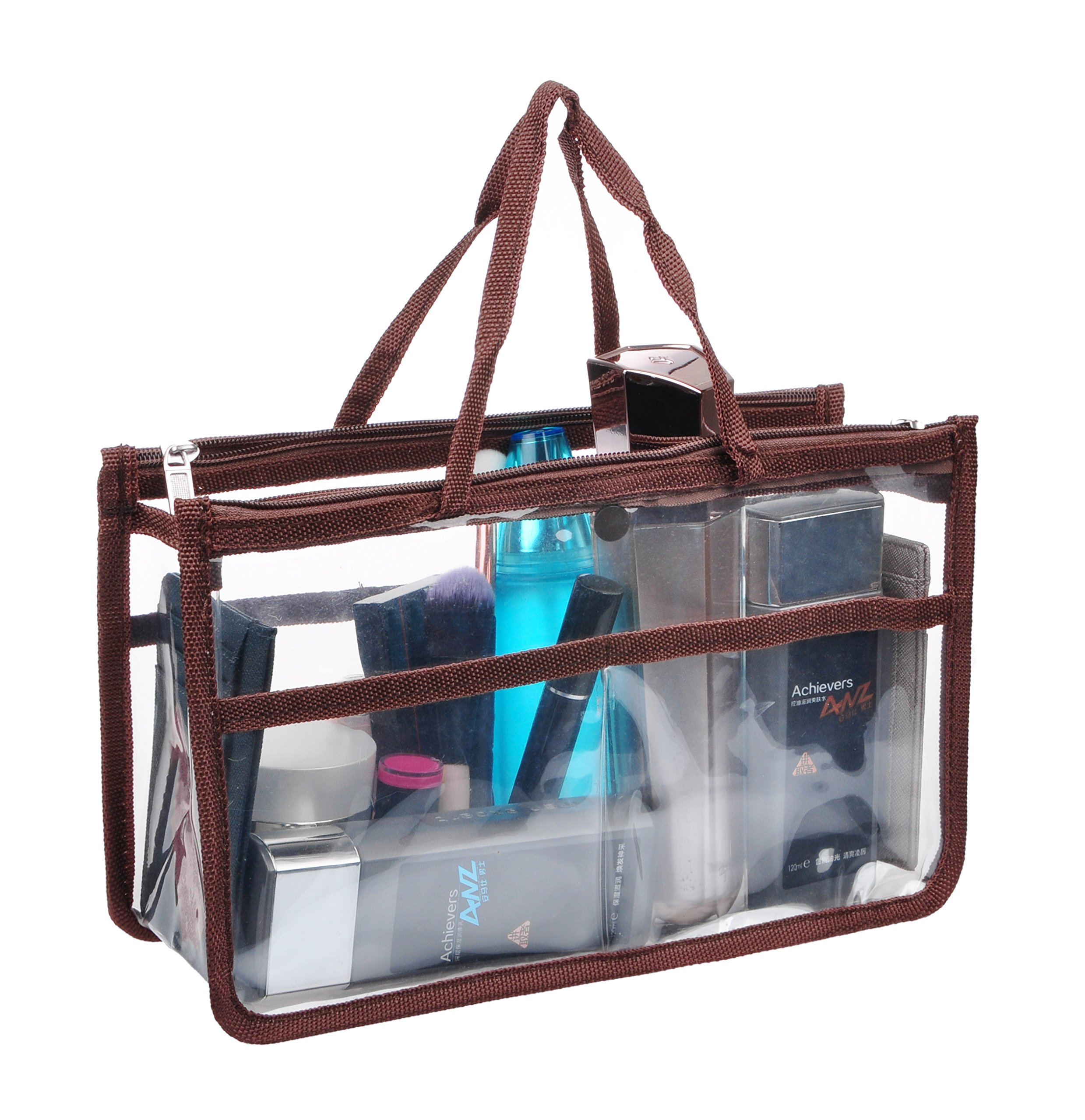 Vercord Clear Handbag Purse Tote Insert Organizer Liner Bag In Bag with Handle, Coffee L