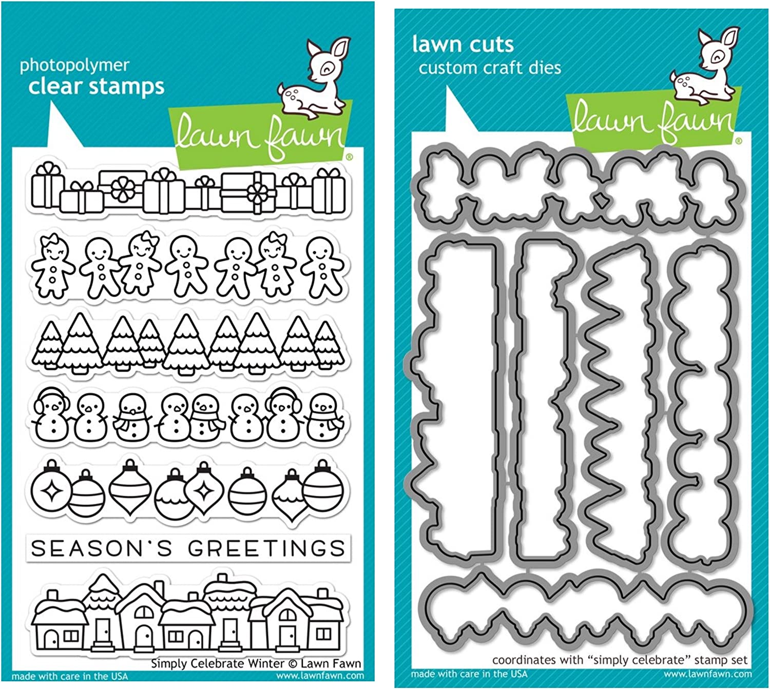 Lawn Fawn Simply Celebrate Winter Clear Stamps and Coordinating Lawn Cut Custom Craft Dies Two Item Bundle LF1769, LF1770