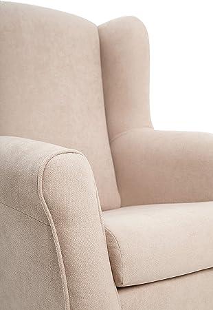SUENOSZZZ-ESPECIALISTAS DEL DESCANSO Sillon orejero Carla (Sillon Lactancia) Sillón tapizado en Tela Antimanchas Color Beige. Sillon butaca para Dormitorio, Salon o habitacion de Bebe