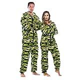 #followme Adult Onesie Pajamas Jumpsuit 6439-NEW-GRN-XS (Color: Green - Camo Womens, Tamaño: X-Small)
