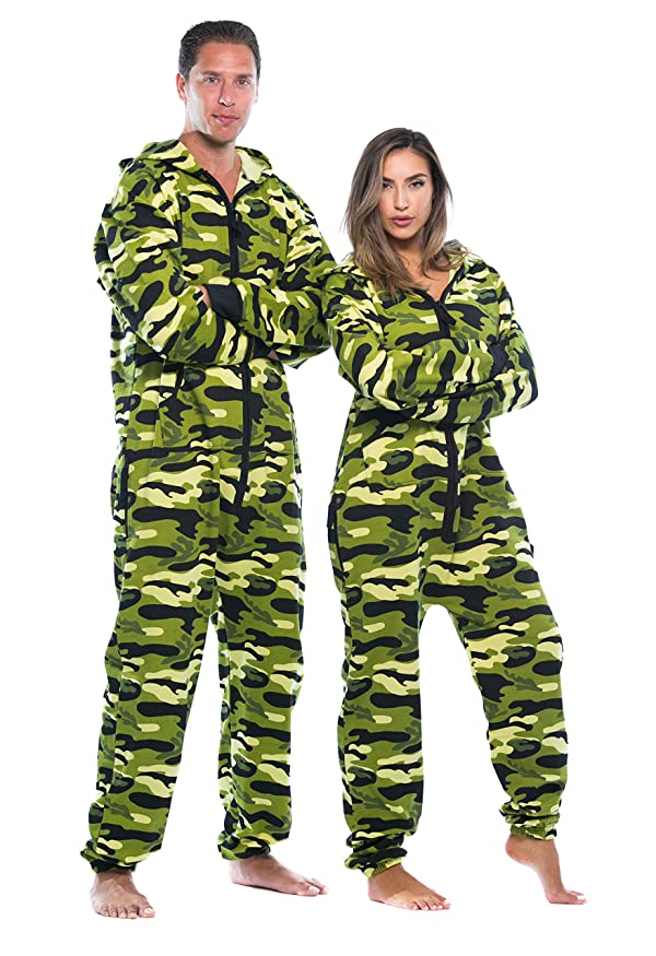 #followme Adult Onesie Pajamas Jumpsuit 6439-NEW-GRN-XS (Color: Green - Camo Womens, Tamaño: X-Small)