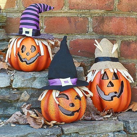 Prextex Set di Tre Zucche Decorate Felici per Halloween Illuminate ...