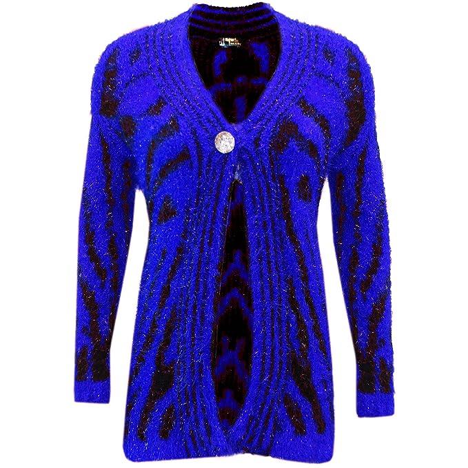 Desconocido Chaqueta de punto elástico para mujer, con botones frontales de piel suave y chaqueta
