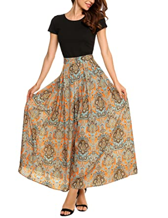 3eaca092a Zeagoo Women African Boho Floral Print High Waist Pleated Maxi Skirt ,Orange,XX-