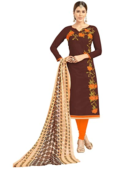 2fb2834e07 LUXXIX ENTERPRISE STUNNING Brown Color Embroidered Women's & Girl's Chanderi  Salwar Suit With Matching Bottom & Dupatta (LSTGNGRSGN1010_1.9): Amazon.in:  ...