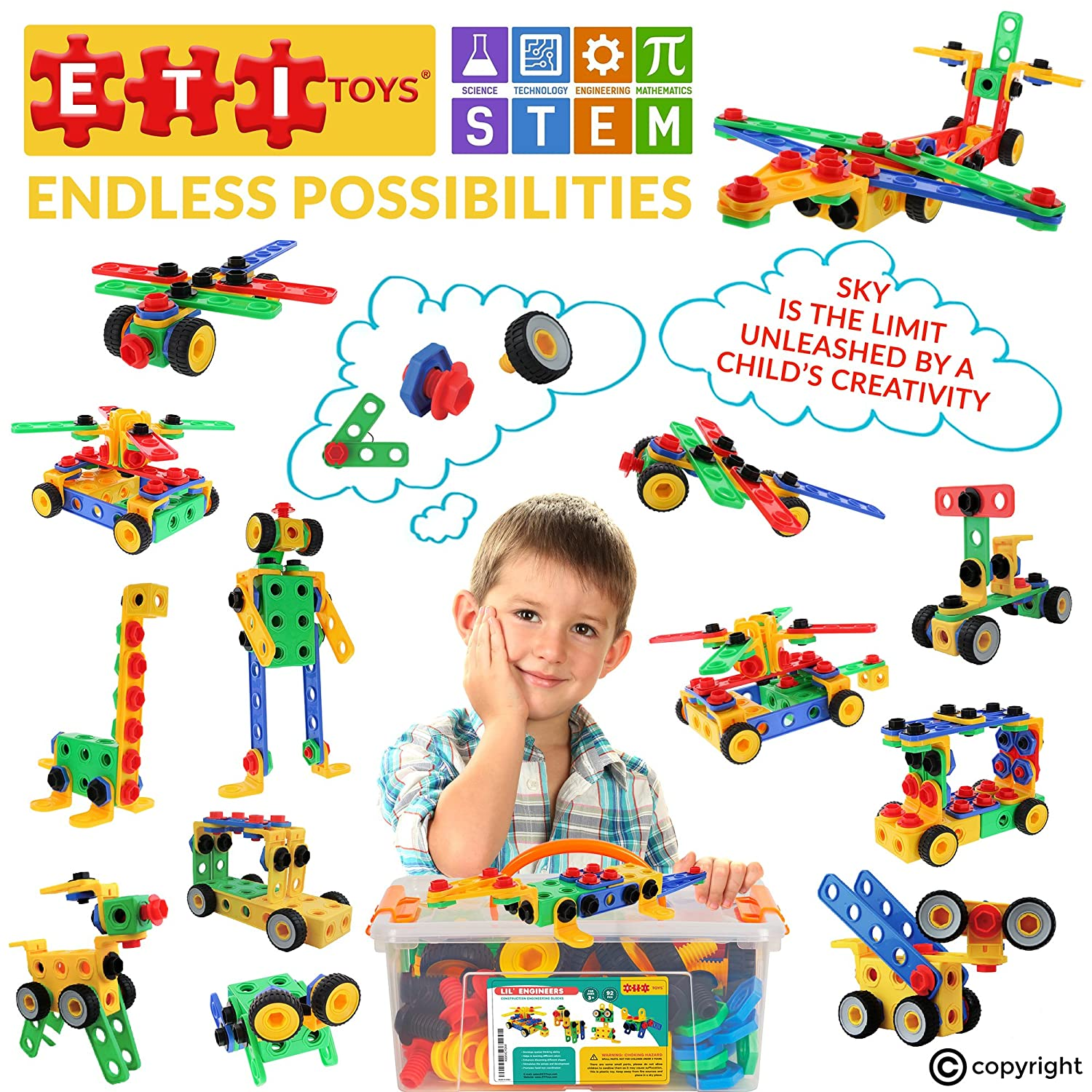 ETI Toys STEM Learning Original 90 Piece Educational Construction