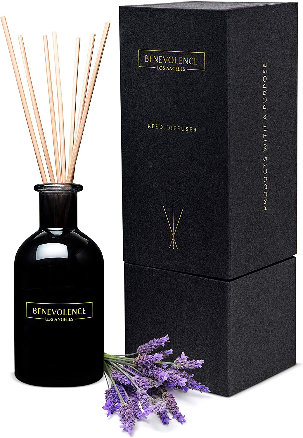 Benevolence LA Reed Diffusers for Home   Lavender & Eucalyptus Fragrance Diffuser   Aromatherapy Scented Oil Reed Diffuser Set   Sticks Diffuser