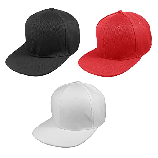 Gelante Plain Blank 6 Panels Flat Brim Adjustable Snapback Baseball Caps -  Set of 3 Pieces 65410954d131