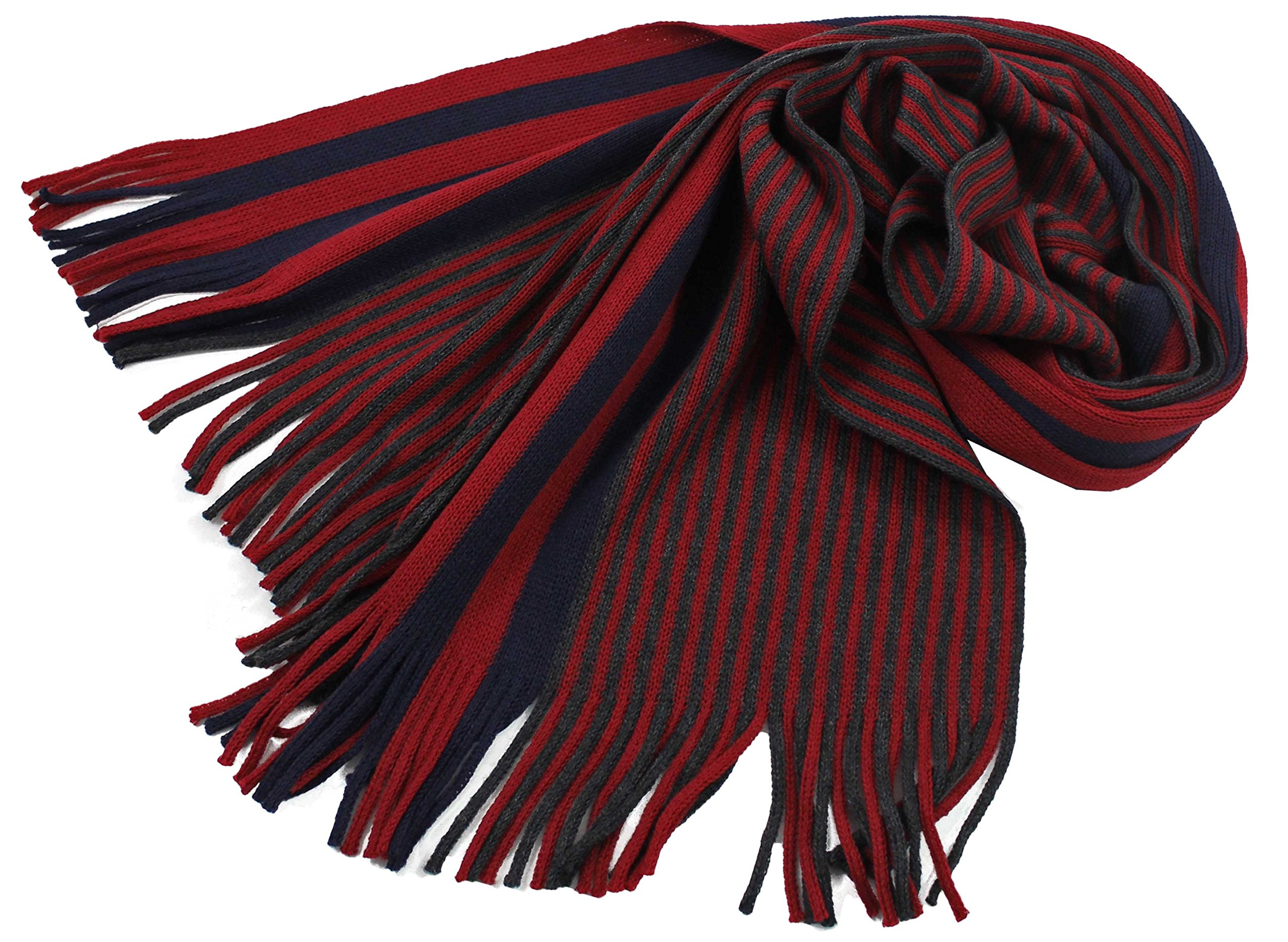 Rotfuchs Scarf - knitted, red blue 100% wool (Merino)
