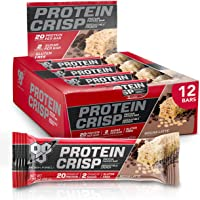 BSN Protein Bars - Protein Crisp Bar by Syntha-6, Whey Protein, 20g of Protein, Gluten Free, Low Sugar, Mocha, 12 Count