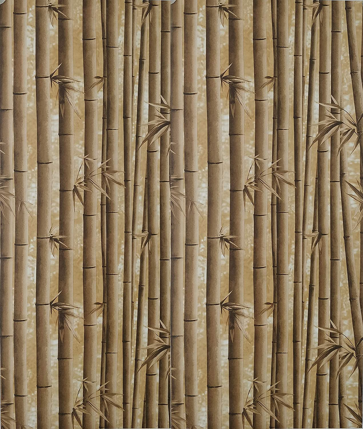Dundee Deco AZ-F8263 Floral Printed Brown Bamboo Shoots Peel and Stick Self Adhesive Removable Wallpaper, Roll 18 ft. X 18 in. (5.5m X 45cm), 26.6 sq. ft. (2.5 sq. m)