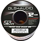 GLS Audio Premium 12 Gauge 25 Feet Speaker Wire - True 12AWG Speaker Cable 25ft Clear Jacket - High Quality 25' Spool Roll 12G 12/2 Bulk