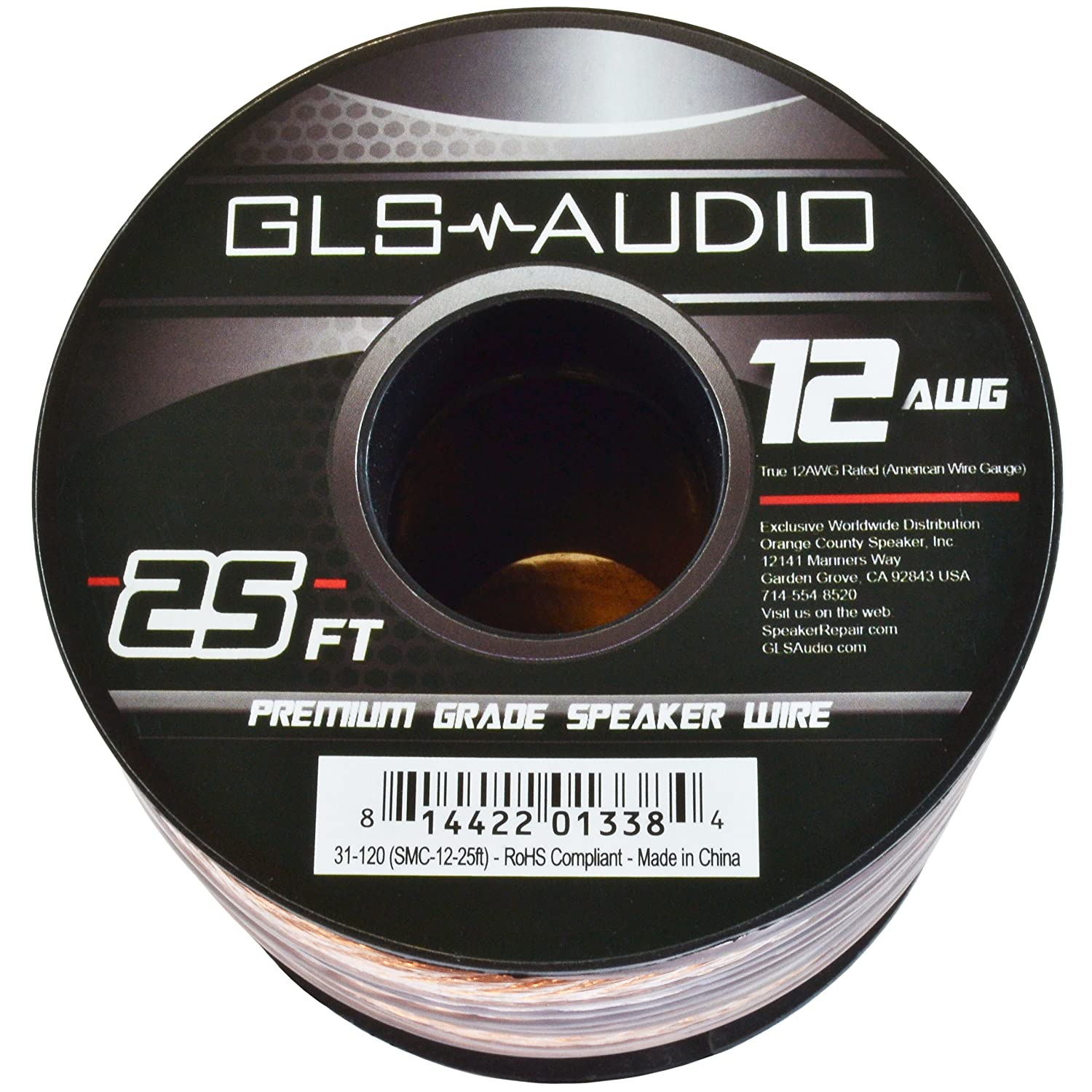 Amazon.com: GLS Audio Premium 12 Gauge 25 Feet Speaker Wire - True ...