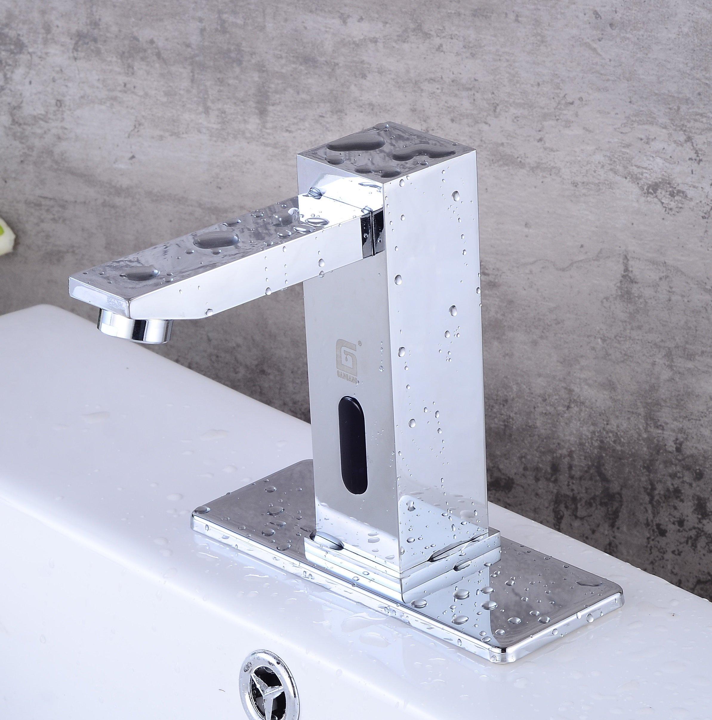 Gangang Deck Mount Solid Brass Auto Sensor Bathroom Sink Faucet with Automatic Sensor Chrome Bath Tub Faucet Unique Square Body Vanity Tub Faucets (Chrome)