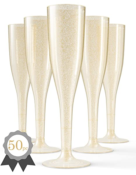 2ec14dc2b1e1 50 Gold Plastic Champagne Flutes