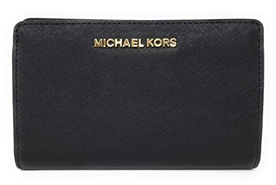 7e7c4eeb77b47a Michael Kors Jet Set Travel Slim Bifold Saffinao Leather Wallet (Black)