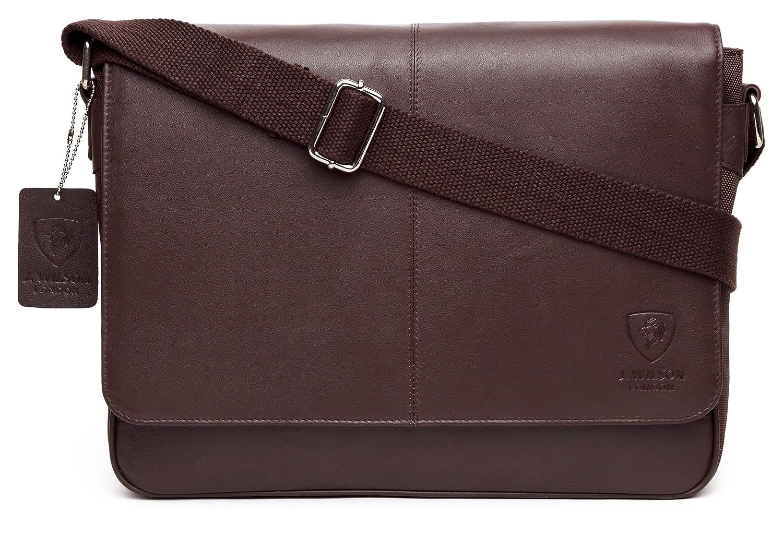 J WILSON London - Leather - Nylon 13 Laptop Designer Genuine Real Nappa Handmade Unisex Cross Body Flapover Everyday Crossover Work iPad Shoulder Messenger Bag (Brown)