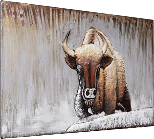 Empire Art Direct Buffalo Iron Wall Art 3D Metallic Hand Painted Sculpture,Ready to Hang,Living Room