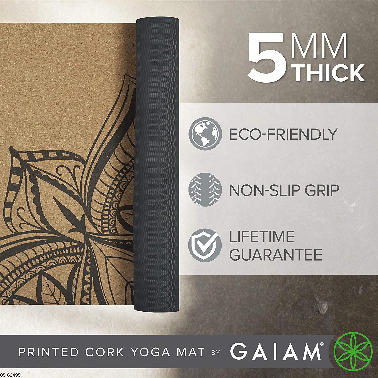 Great for Hot Yoga Natural Sustainable Cork Resists Germs and Odor 68-Inch x 24-Inch x 5mm Thick Non-Toxic TPE Rubber Backing Pilates Gaiam Cork Yoga Mat