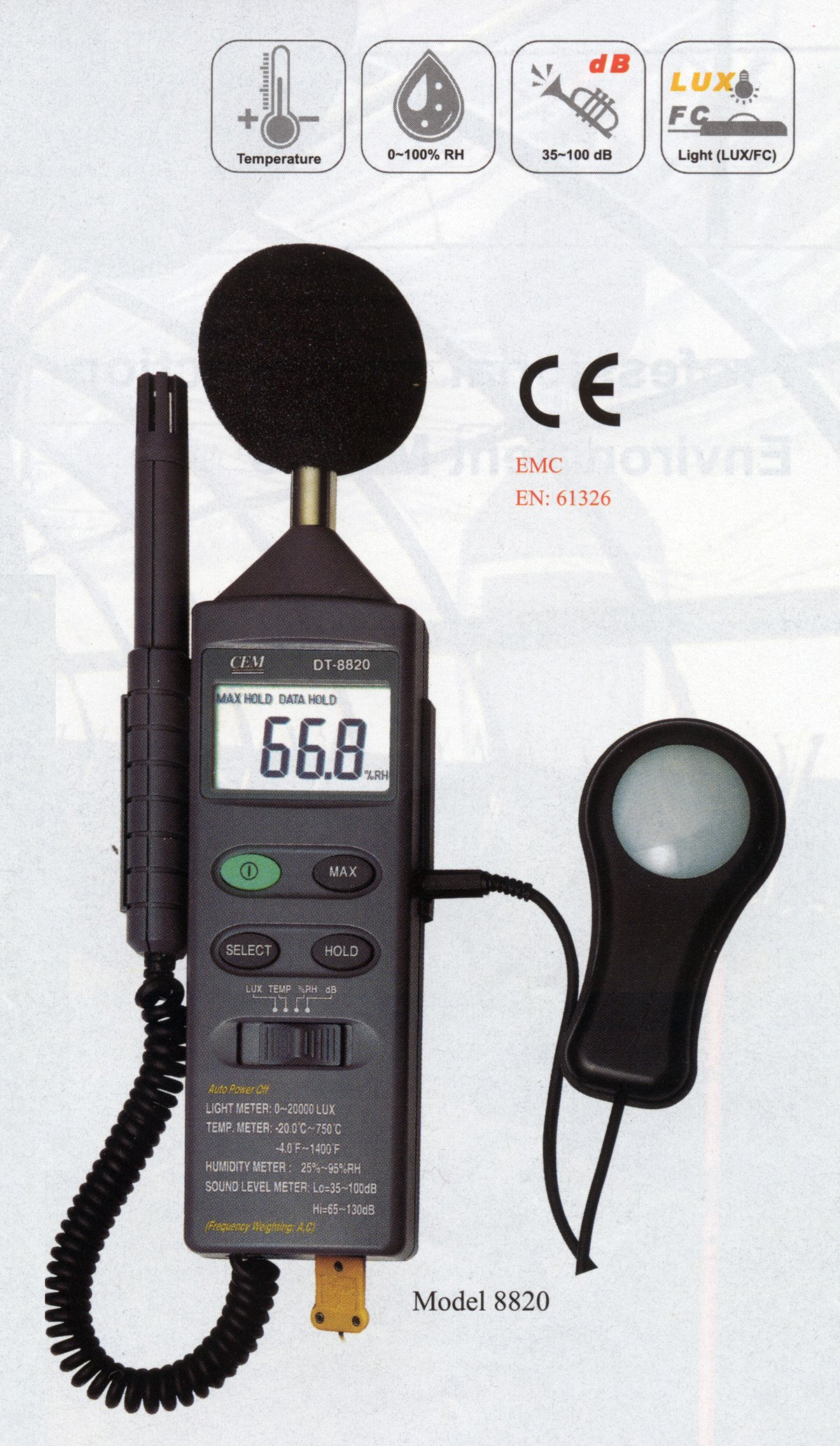 DT-8820 4-in-1 Industrial Thermometer Light Humidity Sound Meter NEW by CEM