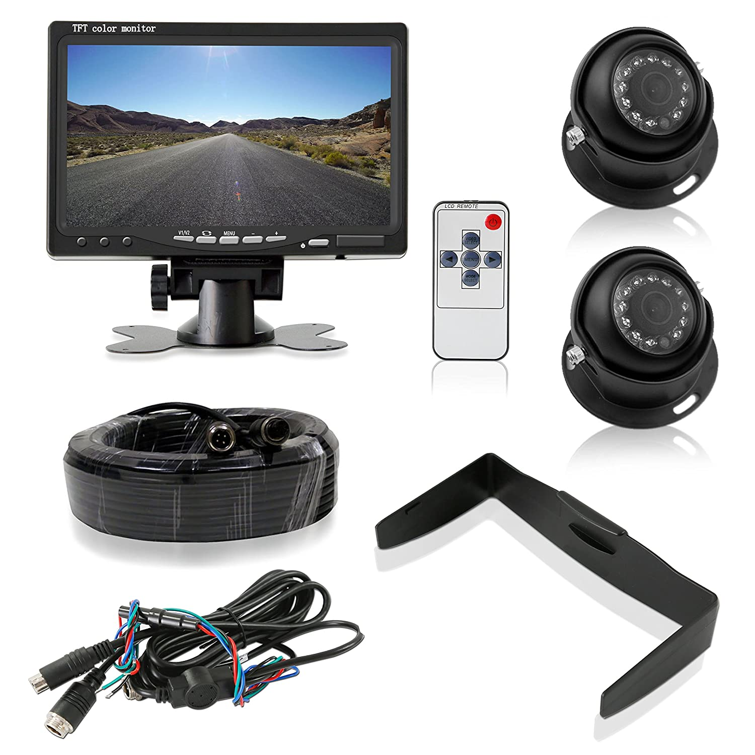 "Pyle Backup Camera System with 2 Weatherproof Cams & 7"" Rear View Dash Mount Monitor - Night Vision, Full Color Video Security for Truck, Van, Vehicle"