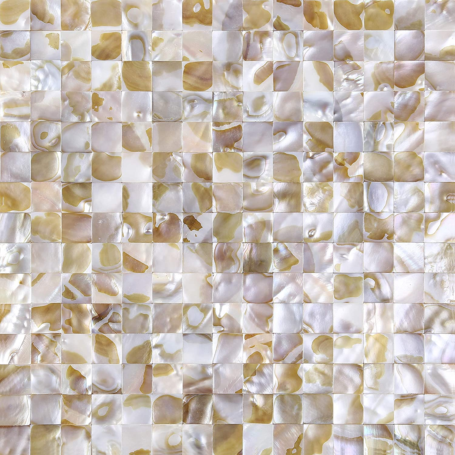 Jhana Tile - 6 Sheets DIY Peel and Stick 3D Wall Decor Genuine Mother of Pearl Shell Mosaic Tile for Kitchen Backsplash, Bathroom Accent Wall, 12