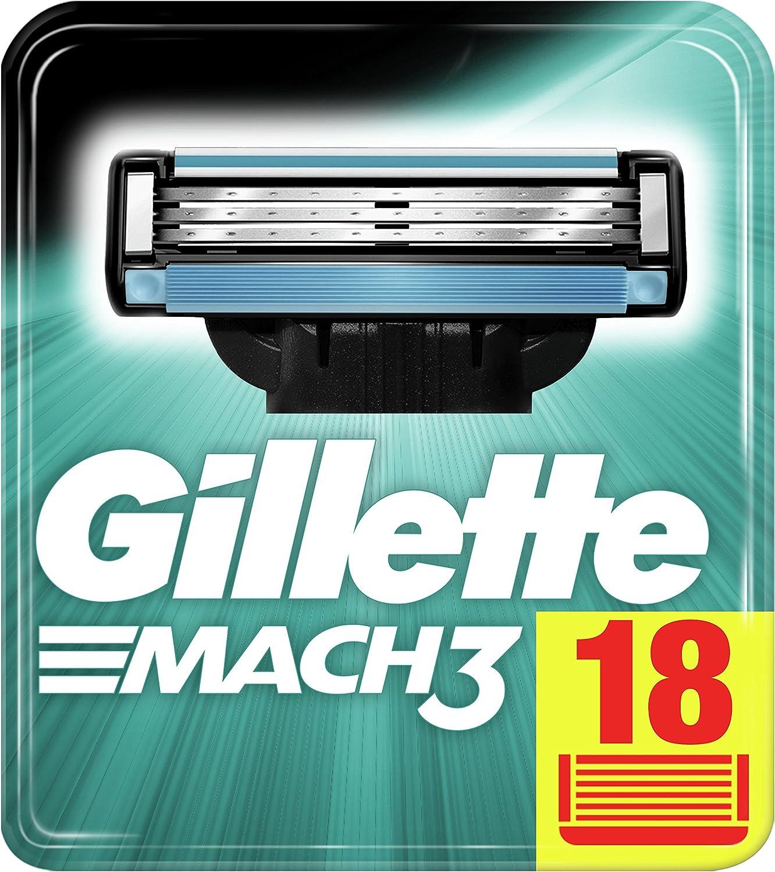 Gillette Mach3 - 18 Cuchillas de Afeitar, Paquete Apto para el Buzón de Correos, con Hojas más Fuertes que el Acero