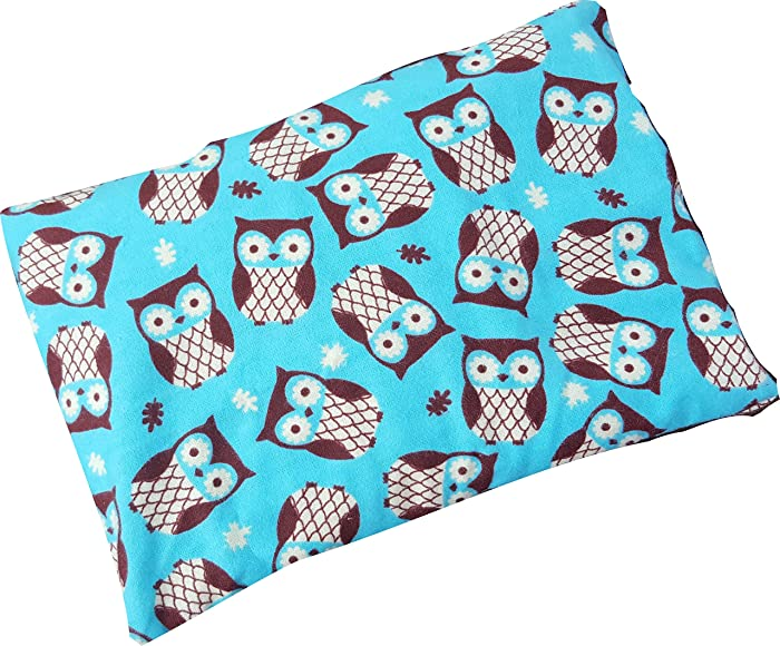 "Microwavable Corn Filled Heating Pad and Cold Pack/Washable 100% Cotton Cover (7.5""Wx11""L, Turquoise Owls)"
