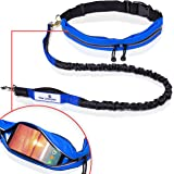 Paw Lifestyles Retractable Hands Free Dog Leash W/Smartphone Pouch – Dual Handle Bungee Waist Leash For Up To 150 lbs Large Dogs
