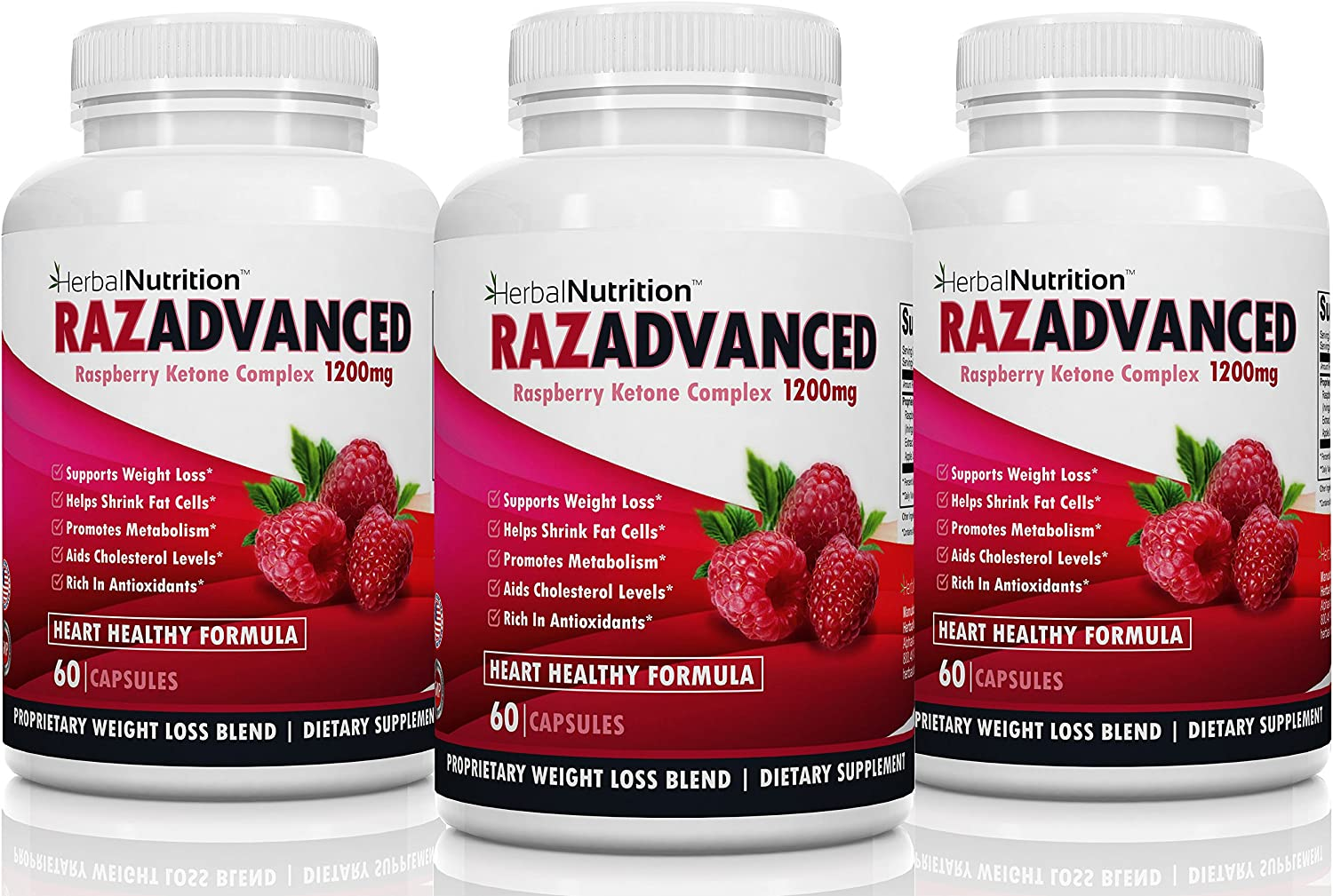 RazAdvanced Raspberry Ketones Complex Three Bottle Pack 80 Capsules 1200mg Per Serving All-Natural Veggie Caps Helps Burn Fat Suppresses Appetite Super Antioxidant