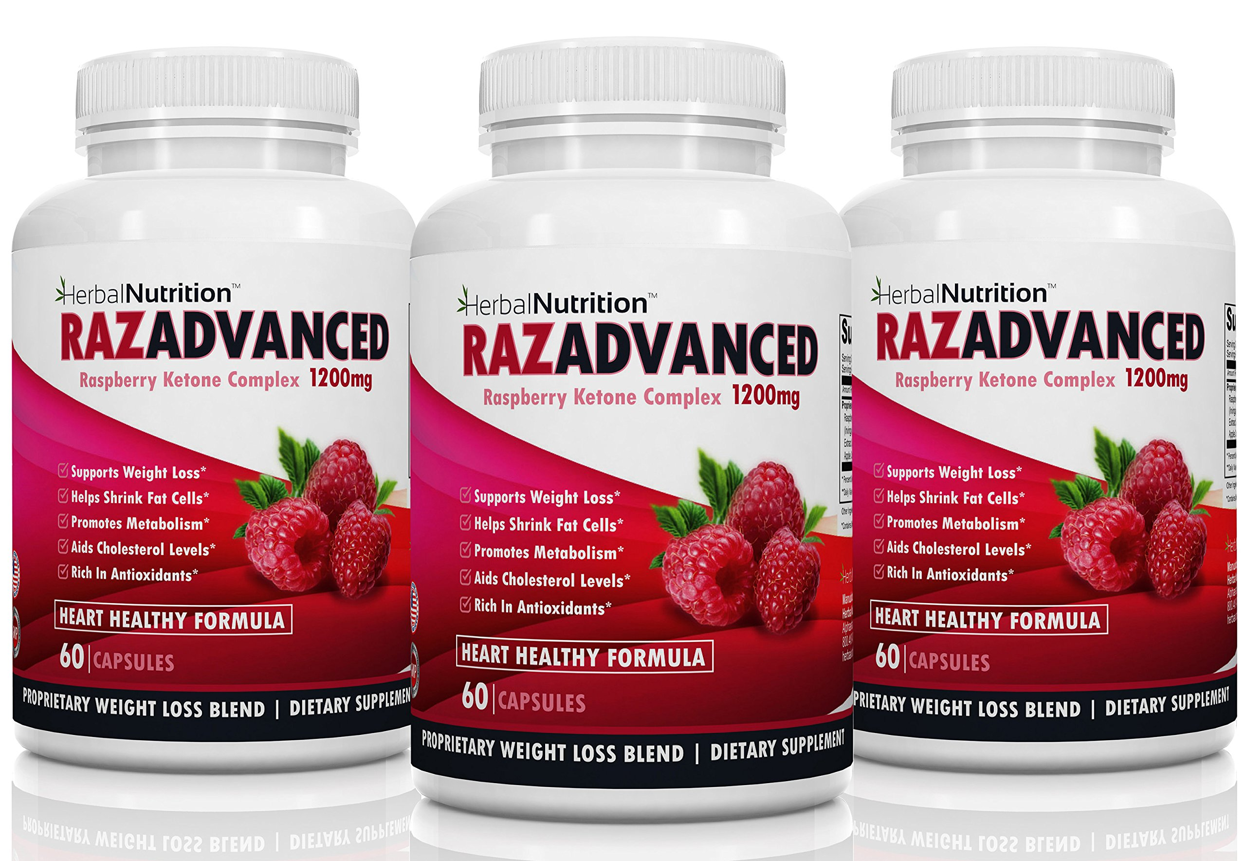 RazAdvanced Raspberry Ketones Complex Three Bottle Pack 80 Capsules 1200mg Per Serving All-Natural Veggie Caps Helps Burn Fat & Suppresses Appetite Super Antioxidant