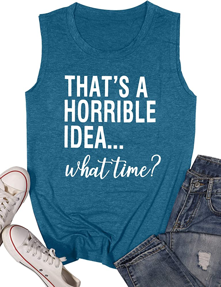 VILOVE Womens Thats A Horrible Idea What Time T-Shirt Funny Drinking Party Shirt Causal Short Sleeve Graphic Tee Tops