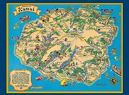 Amazon.com: MAGNET Hawaii Hawaiian Kauai Map United States ...