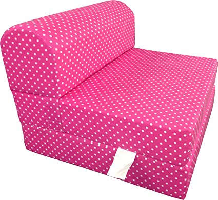 Magnificent Dd Futon Furniture Pink White Dots Twin Size Chair Fold Foam Bed 1 8Lb Density Sofa Beds 6X32X70 Cjindustries Chair Design For Home Cjindustriesco