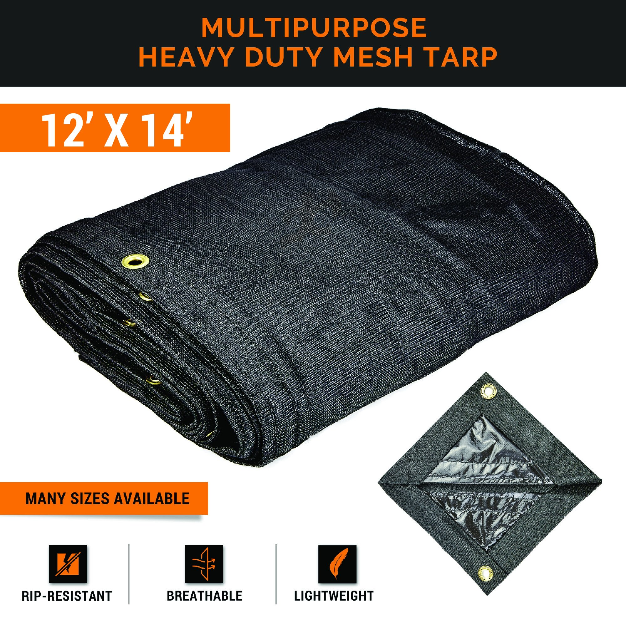 Xpose Safety Heavy Duty Mesh Tarp – 12' x 14' Multipurpose Black Protective Cover with Air Flow - Use for Tie Downs, Shade, Fences, Canopies, Dump Trucks – Waterproof, Weather and Tear Resistant