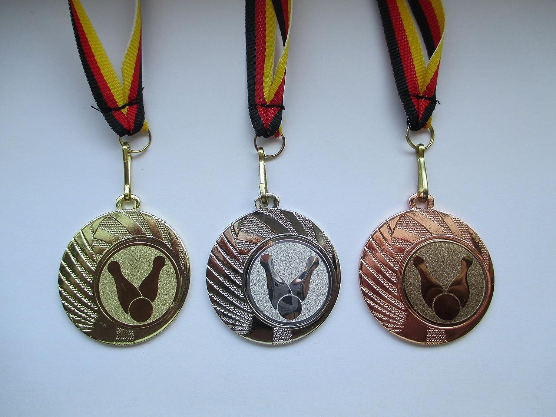 Bowlen Pokal Kids Medaillen 50mm mit Emblem Deutschland-Bändern Turnier E237 Pokale & Preise