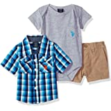 U.S. Polo Assn. Baby Boy's Short Sleeve Shirt, T-Shirt and Short Set Shorts