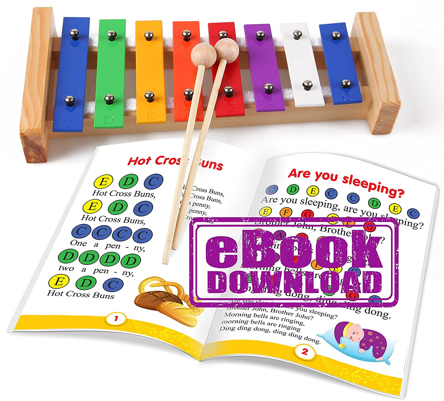 Mini Xylophone for Children - Color Musical Instrument - e-Book Color-Coded Children Songs just for this Xylophone inTemenos