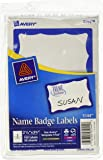 """Avery Print or Write Name Badge Labels with Blue Border, 2-11/32"""" x 3-3/8"""", Pack of 100 (5144)"""