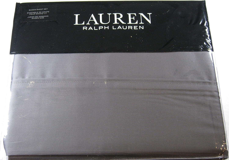 Ralph Lauren Dunham Sateen 300 TC Charcoal Gray Sheet Set, Queen Size