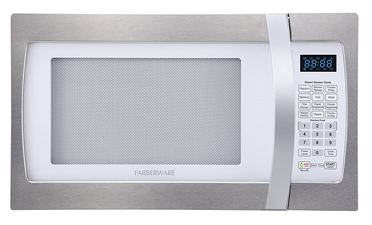 Farberware Professional FMO13AHTPLE 1.3 Cu. Ft. 1100-Watt Microwave Oven with Smart Sensor Cooking, ECO Mode and LED Lighting, White and Platinum