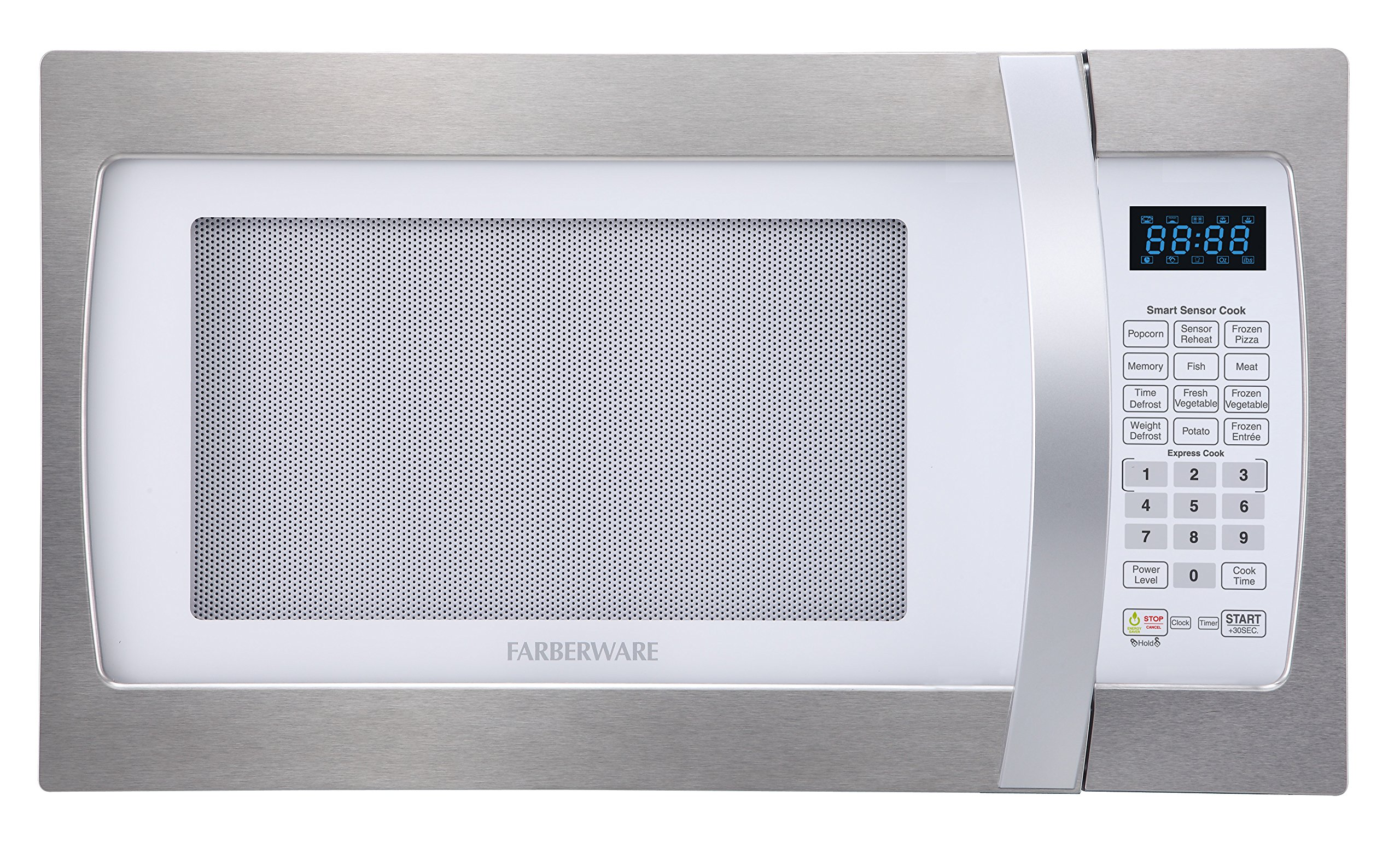 Farberware Professional FMO13AHTPLE 1.3 Cu. Ft. 1100-Watt Microwave Oven with Smart Sensor Cooking, ECO Mode and Blue LED Lighting, White and Platinum by Farberware