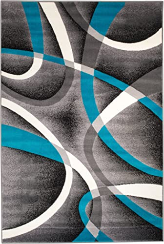 Summit 35 Turquoise Grey Area Rug Modern Abstract Many Sizes Available , 22 inch x 7 foot hall way runner