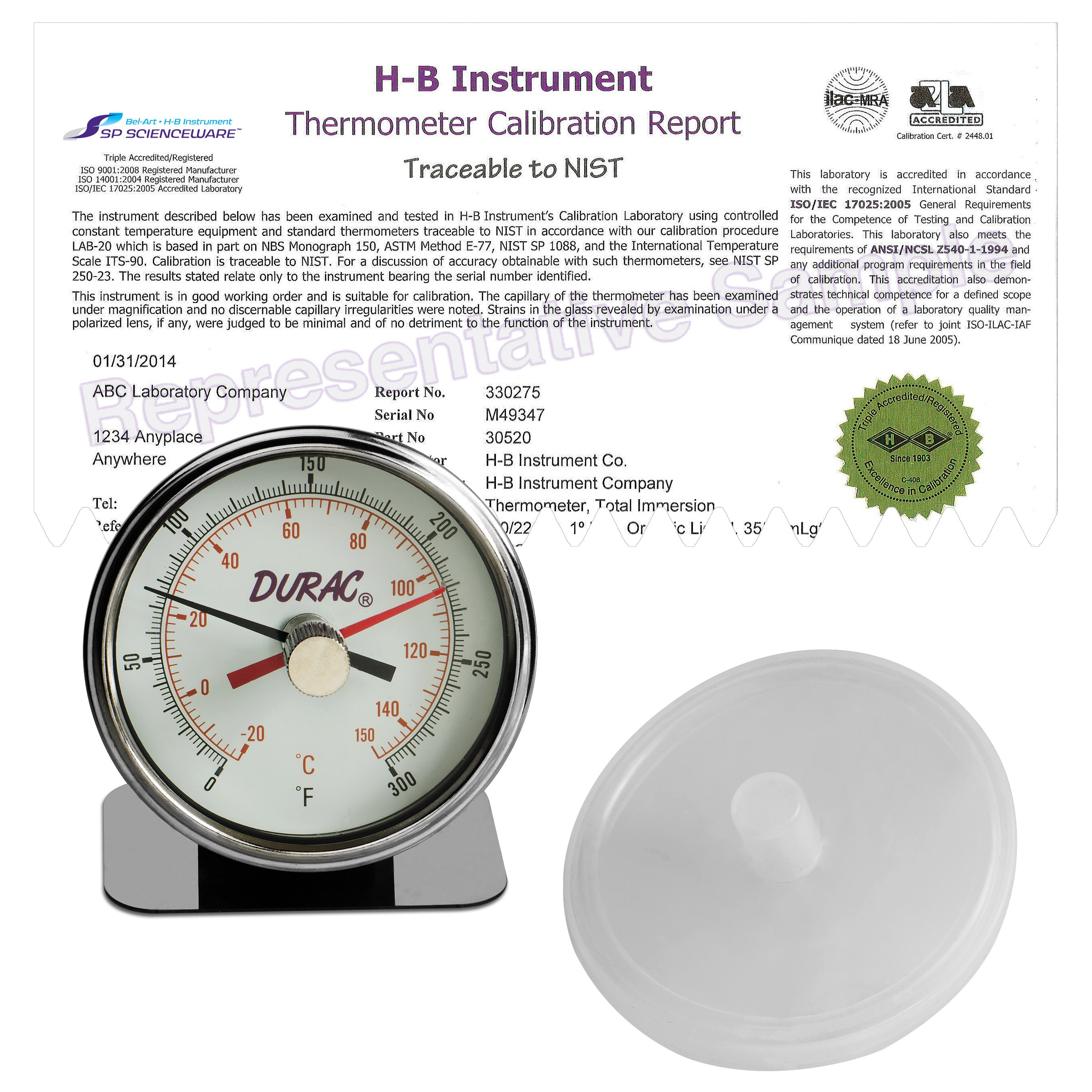 H-B DURAC Maximum Registering/Autoclave Bi-Metal Thermometer; -20 to 150C (0 to 300F), Individual Calibration Report (B60215-0000) by SP Scienceware