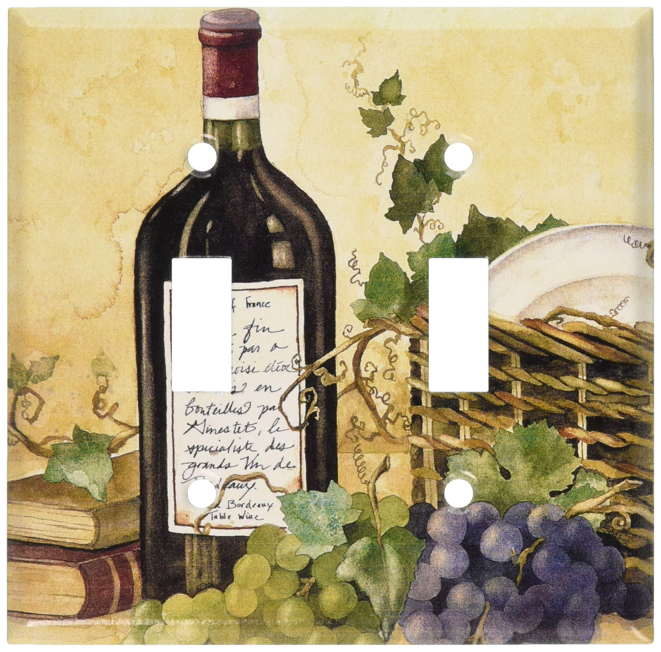 Amazon.com: Red Wine and Grapes Painting Wall Plates (Single Toggle ...